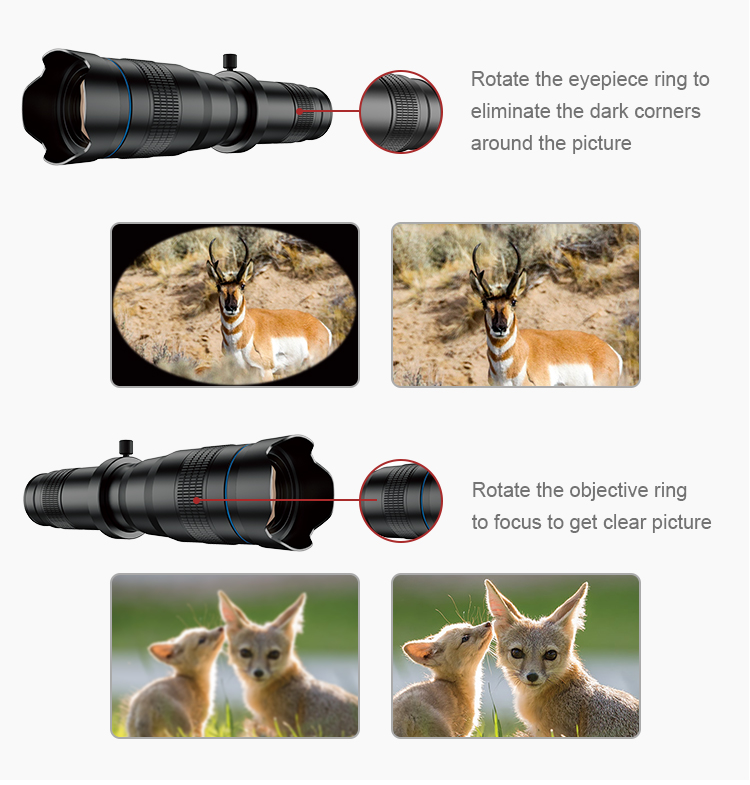 Apexel high definition super monocular telescopes 28x telephoto lens for mobile phone