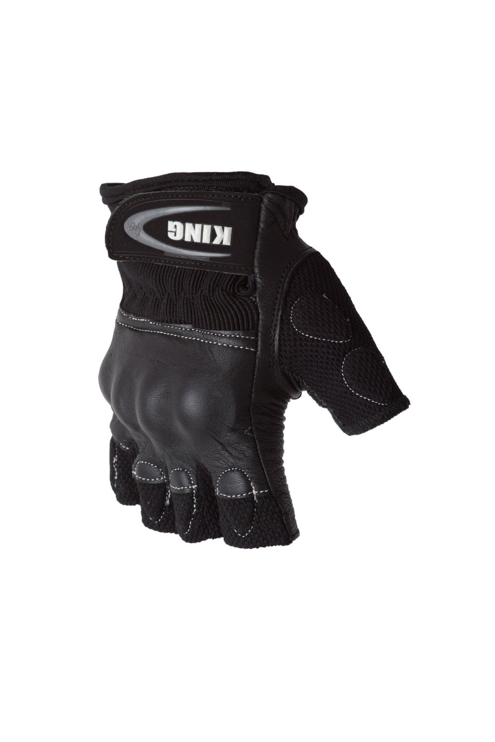 Protect the King Rio Combat Fingerless Armored Motorcycle Gloves (Medium, Black/Black)
