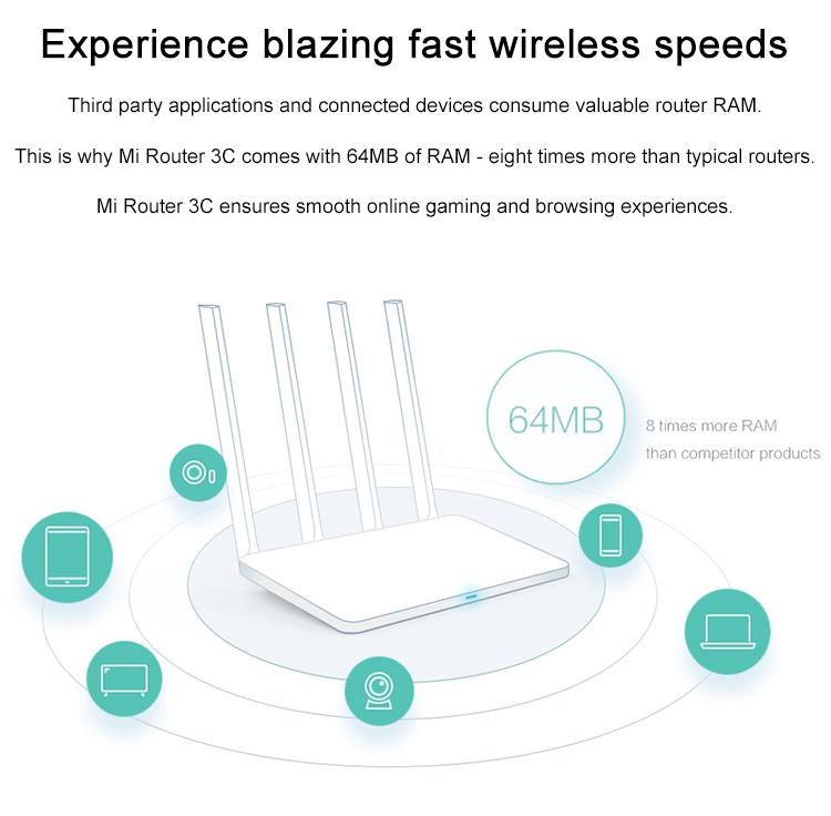 Original Xiaomi Mi Wifi Router 3c 64 Ram 802 11n 2 4g 300mbps Smart App  Control Band 2usb Wireless Routers Repetidor - Buy Repetidor Celular,Xiaomi