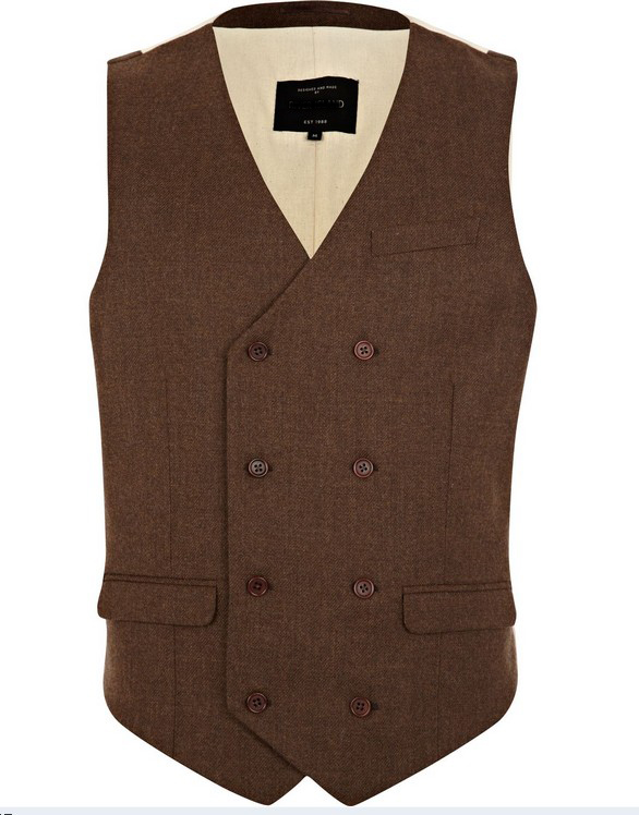 Mens Brown Double Breasted Waistcoat