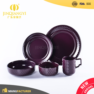 Fashionable round shape restaurant oem brazil ceramic dinnerware sets purple