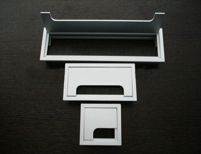New Design Aluminum Alloy Rectangular Desk Grommet For Office Desk