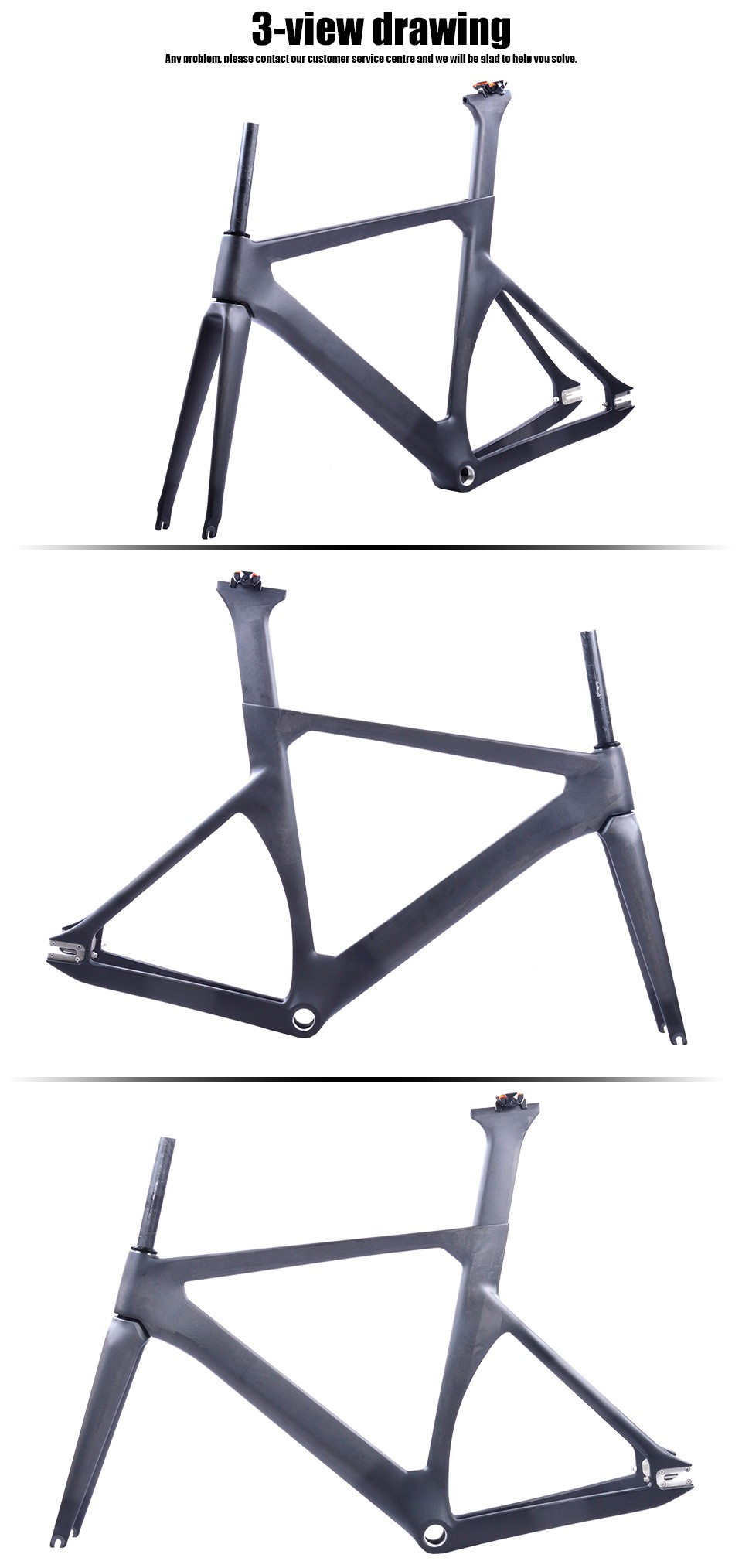 2017 Lightweight Carbon 700c Carbon Fixed Gear Frame Track Bicycle ...