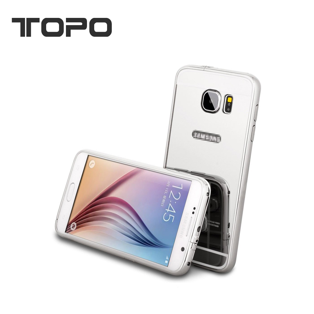 [TOPO]Aluminum metal bumper electroplated mirror back cover case for samsung galaxy A1 A3 A5 A7 J7 J5 J3 J1 s5 s6 S7 S8 edge