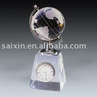 chic crystal globe model and clock for crystal decoration gift