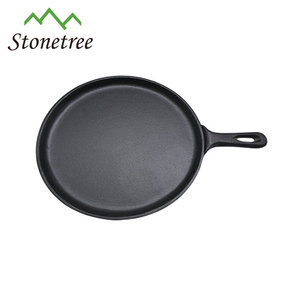 Oval Cast Iron Skillet Sizzle Plate/ Fajita Pan with Handle for Kitchen Use