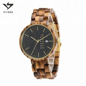 ODM Smart left handed wooden men's zebrawood watch with japanese movement customer logo