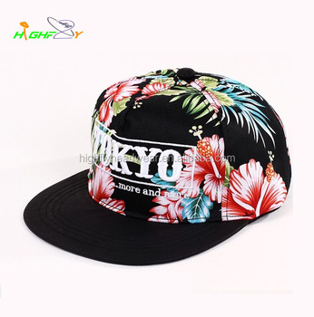 custom floral pattern 3D puff embroidery 6 panel hip hop hats and caps  snapback women yupoong d9a2eb4f4874