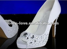 BS021 crystals heel white open toe bridal wedding shoes