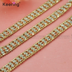 wholesale fashion gold bead and crystal bling rhinestone chain roll WRC-336