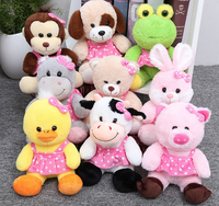 20CM customize soft stuffed plush rabbit /frog /duck/cow/dog /pig with skirt for Promotion