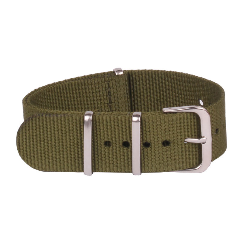 Watchband 16mm Army Green Color Nato Watch Straps Woven Nylon Strap 16 Mm Watchbands Buckle Belt
