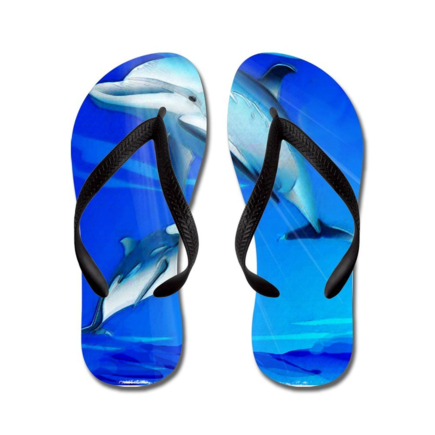 3ae1b35f5842 Get Quotations · CafePress Mom Baby Dolphin - Flip Flops