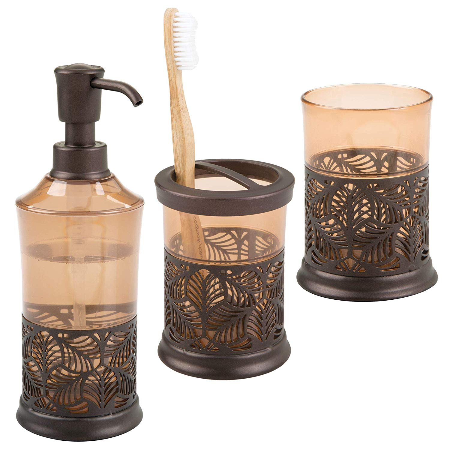 mDesign Decorative Bath Accessory Set with Leaf Design for Bathroom Vanity Countertops and Sinks, Includes Hand Soap Dispenser, Toothbrush Holder and Tumbler - Set of 3, Sand/Bronze