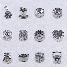 Vintage European Style 925 Sterling Silver Engraved Bead Charm For Bracelet