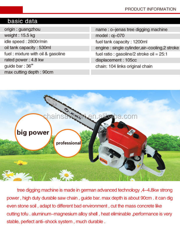 gasoline tree digging/stone cutting machine