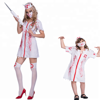 New Women Sexy Blood Nurse Cosplay Costume Suit 2018 Halloween Party Female Cosplay Sets Dress & Headpiece & Mask