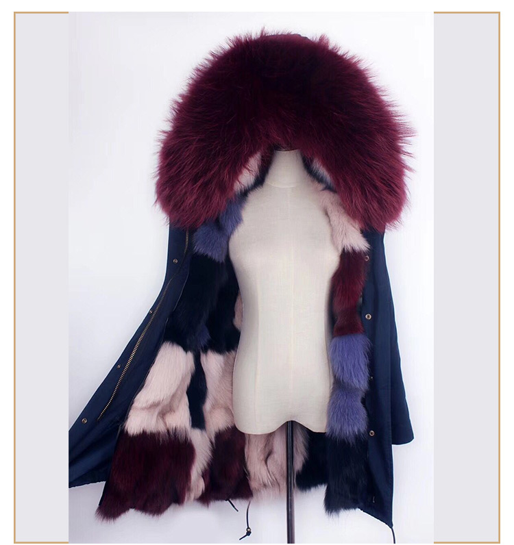 Colorful fox fur lining fur hooded ladies fitted real fur parka