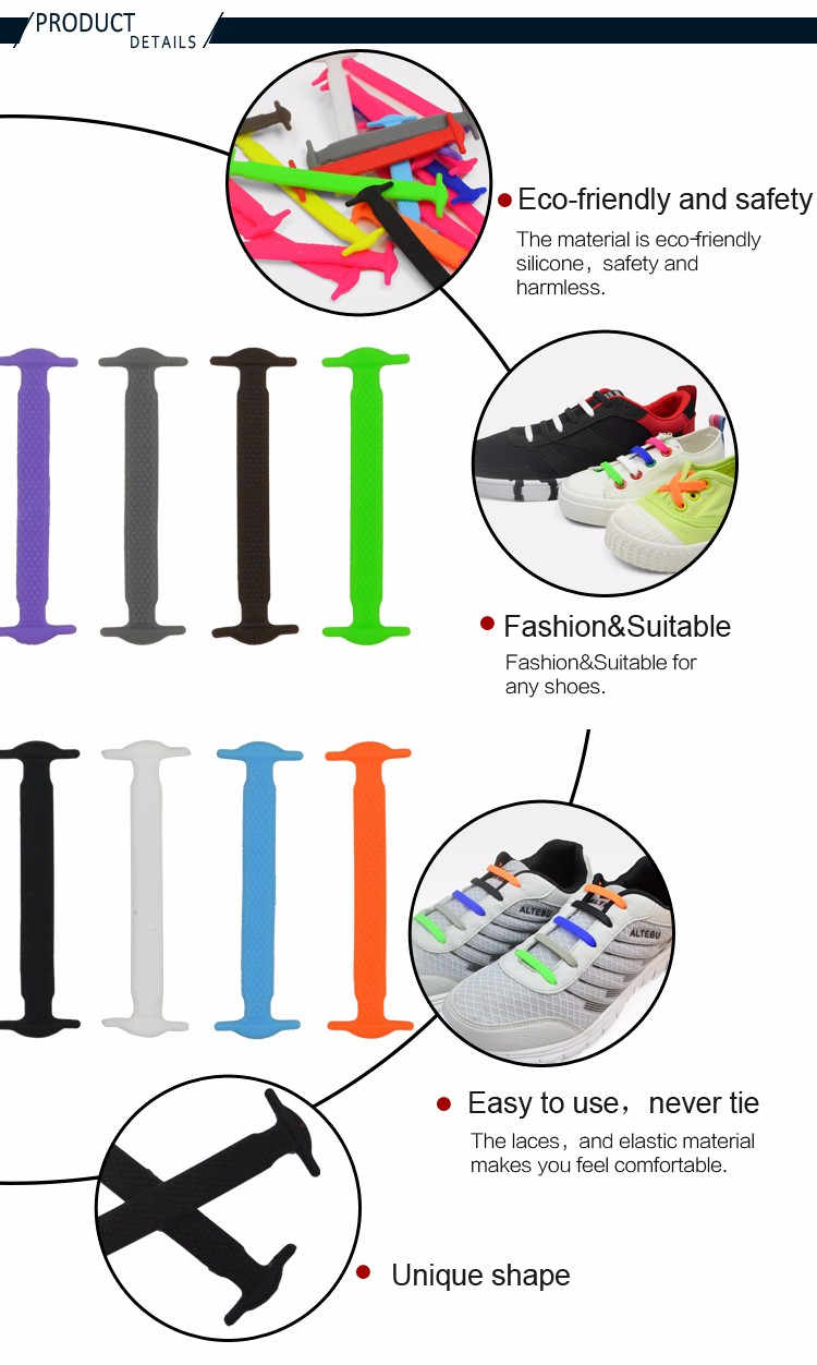 Lazy no tie shoelaces custom printed branded plastic shoe laces silicone shoe laces shoe lace ccuart Images