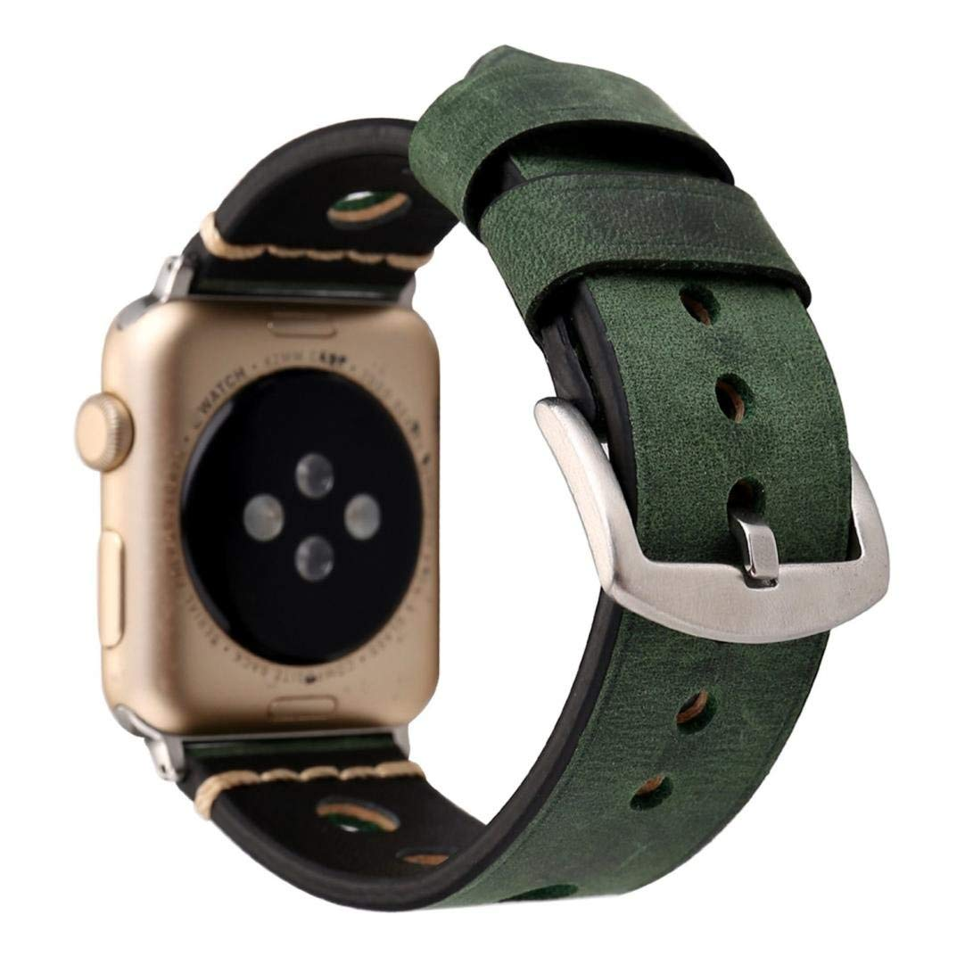 Watch Band for Women Men-Quick Release- Replacement Luxurious Soft Retro Leather Rubber Watch Band,Aurorax Wrist Band Strap For Apple Watch 1/2 (42mm (Army Green)