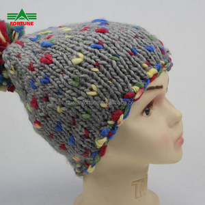 Winter Hats Premium Crochet Embroidered Sublimation Clear Pom Pom Acrylic Wool Polyester Beanie For Man Woman Unisex Adult