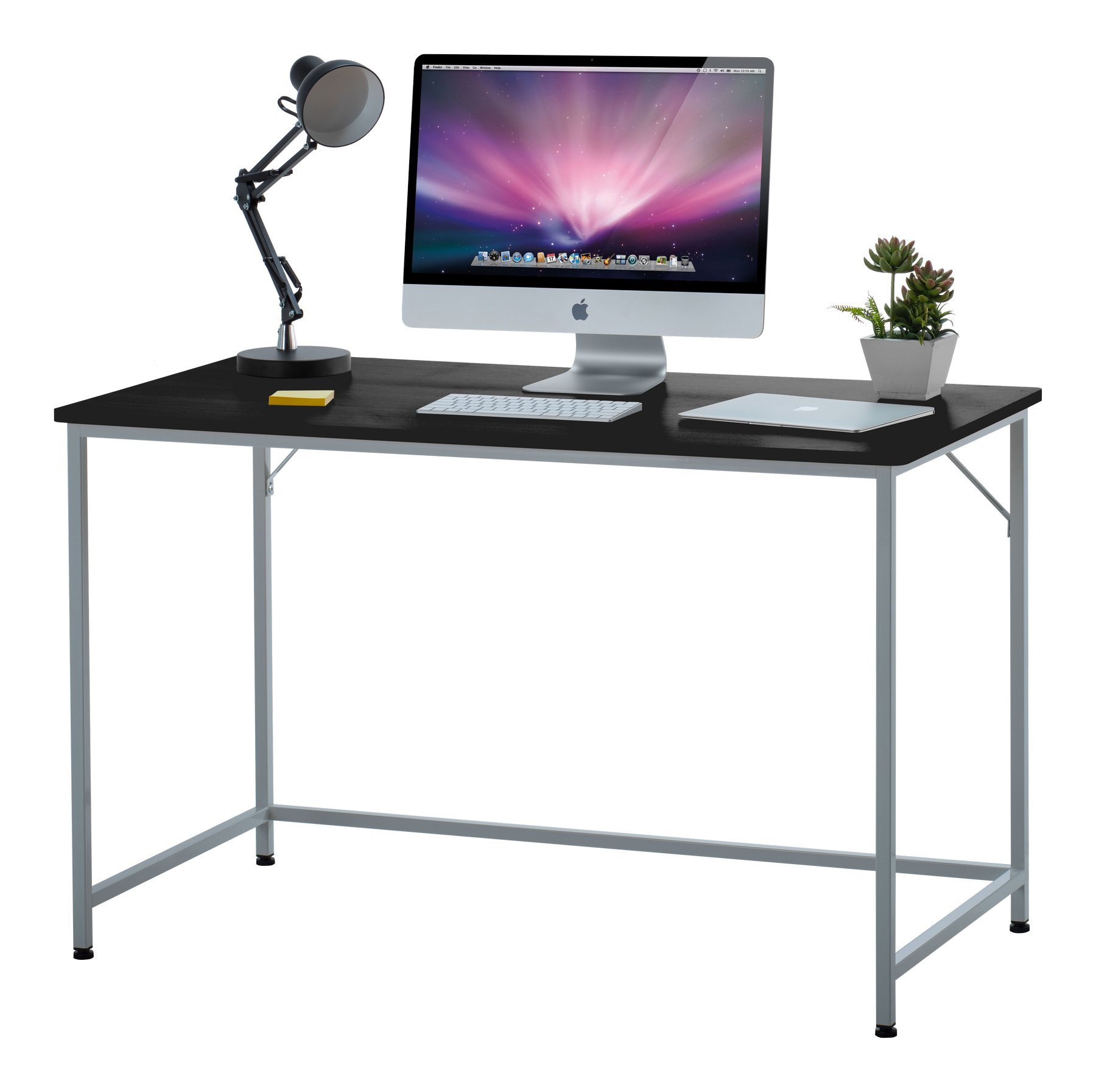 """Fineboard 47"""" Home Office Computer Desk Writing Table, Black/White"""
