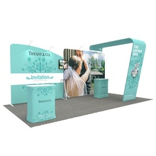 10ft Portatile Personalizzato Onda linea Trade Show Display Pop Up Kit <span class=keywords><strong>Podio</strong></span> Sfondo Stand Stand Modulare Mostre