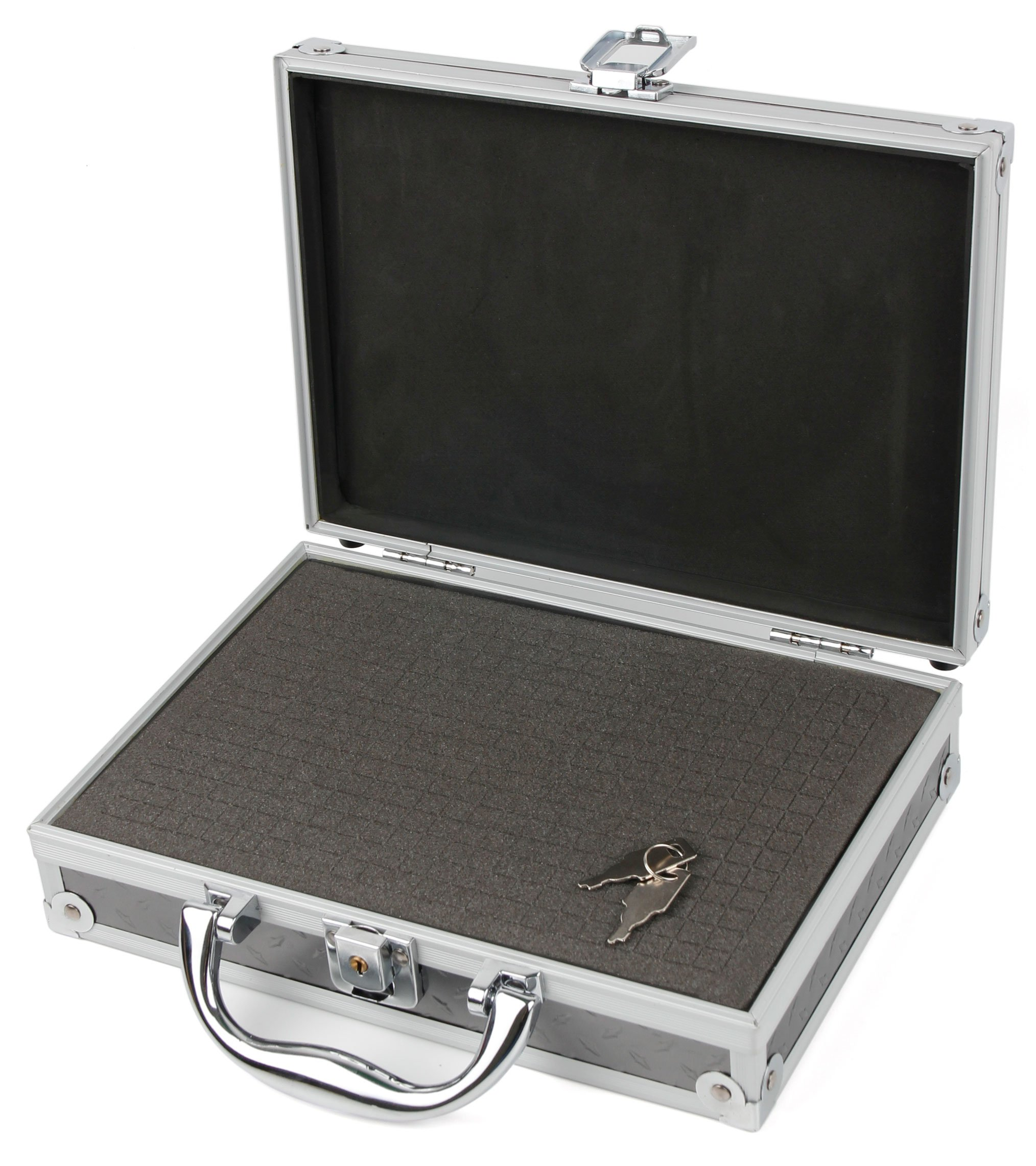 Silver Aluminium Armoured EVA 'Shell' Storage Case with Fully-Customizable & Shock-Absorbing D.I.Y Foam Interior - Compatible with Harmonicas - by DURAGADGET