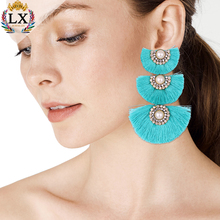 ELX-00860 high quality three layers big statement earrings turquoise fan tassel earrings bohemian tassel earrings with pearl