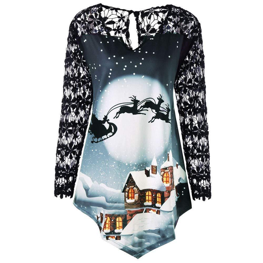 b17e208f0c572 Liraly Christmas Shirts Women Plus Size Printed Lace Patchwork Asymmetric T-Shirt  Tops