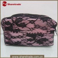 Satin black lace evening party cosmetic pouch oem cosmetic bag