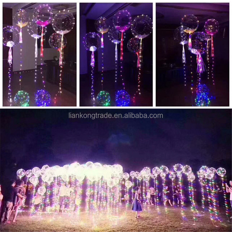 Custom Wedding decoration clear inflatable led light balloon with helium white led balloon light with battery sheet