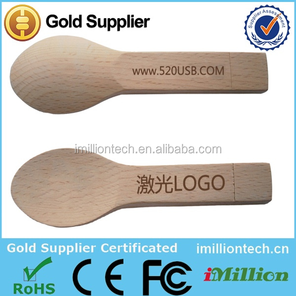 Wholsale from ShenZhen factory wooden spoon shape pendrive 2gb/4gb/8gb16gb laser engraving LOGO