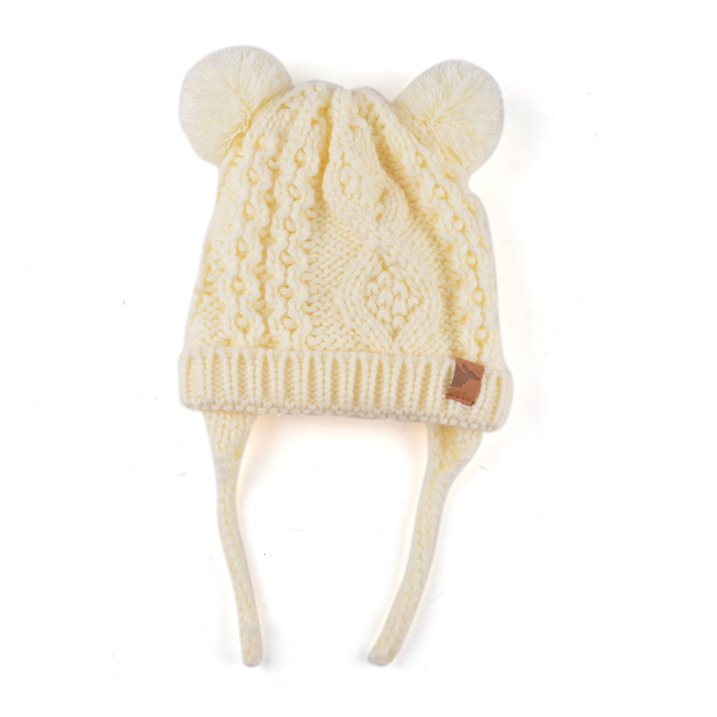 Baby Plain Cute Ear Knit Hat Comfortable Crochet Baby Hat Baby Wool
