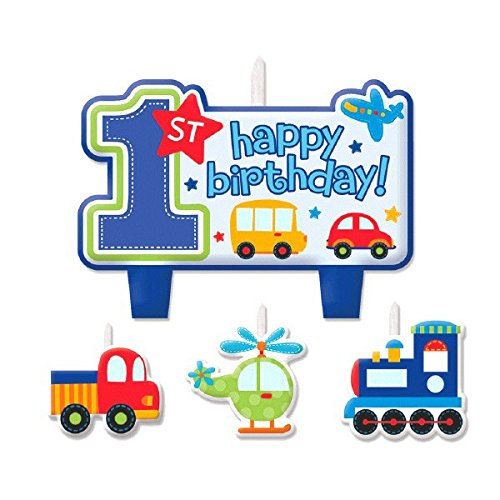 All Aboard! Birthday Party Decorative Cake Candle Set, Multi Colored, Wax, Assorted sizes, 4-Piece