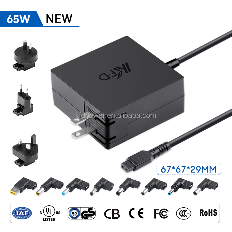 Square 65 W multi power adapter 19 V- 20 V universal charger with 12 tips CB CE FCC ROHS