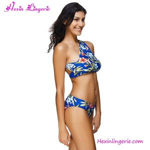 USA Warehouse Delivery Sexy Flower Printing One Shoulder OEM European Swimwear Manufacturers