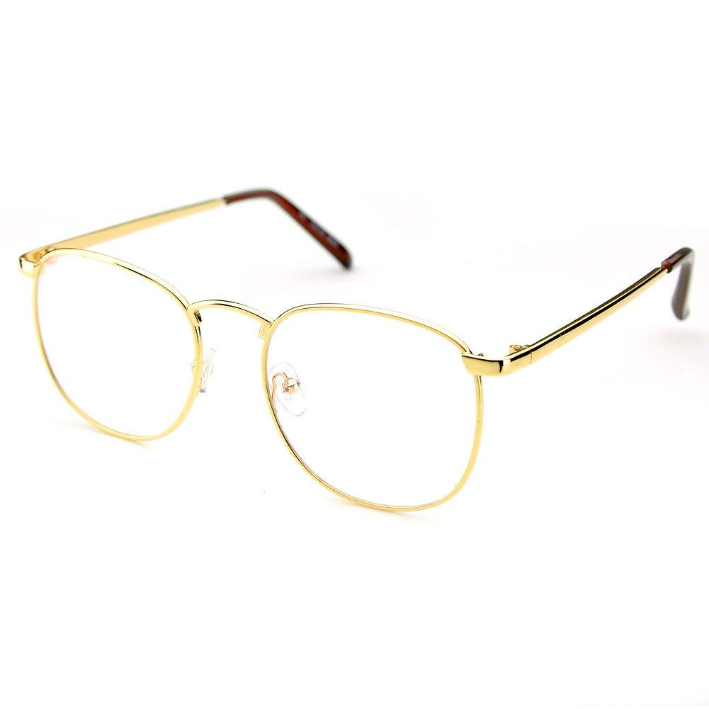 8791df18357 PenSee Oversized Circle Metal Eyeglasses Frame Inspired Horned Rim Clear  Lens Glasses