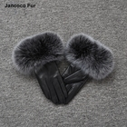 Hot Sale Winter Fashion Design Touch Screen Women Leather Five Fingers Gloves Fox Fur Cuff Mittens