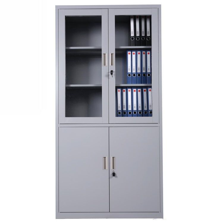 Europe Design Half Glass Door Steel File Cabinet Small Metal Cupboard Iron  Hanging File Chest