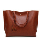 Lady Designer Inspired PU Faux Leather Totes Bag Monogram Handbag With Tassel
