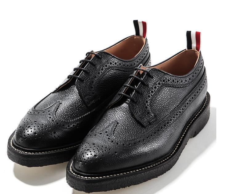 e3cff393814 top fashion THOM BROWNE man oxfords cowhide leather original quality THOM  BROWNE man dress shoes brand man business flats shoes