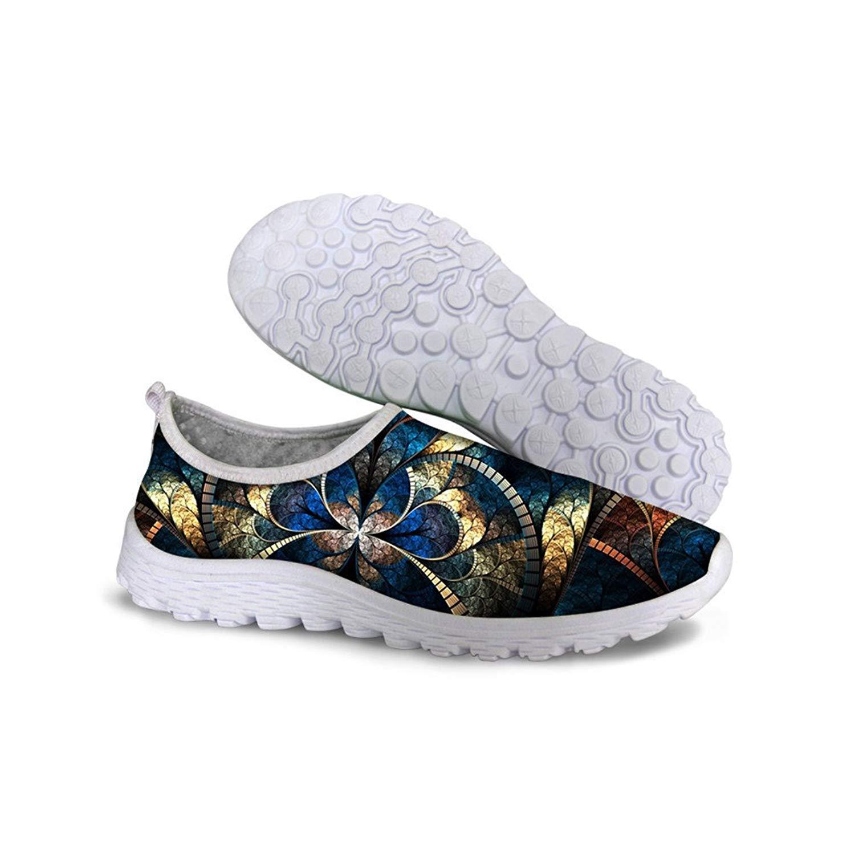 FancyPrint Fashion Print Slip-on Lightweight Walking Shoes Woman Gym Running Tennis
