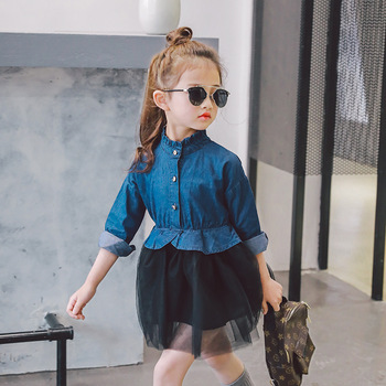 d84c895c37c High Quality Baby Girls Summer Frock Designs Jeans Long Sleeve Lace  Princess Sew Children Dress
