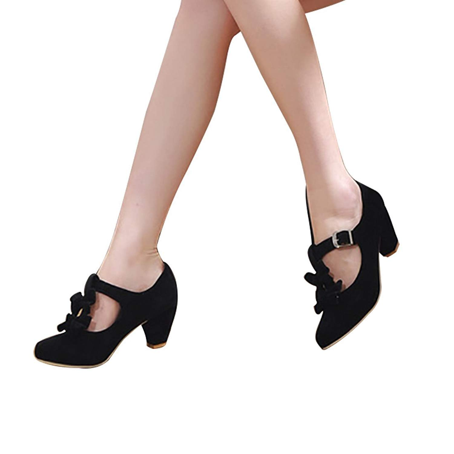 445589f82cd Get Quotations · Mostrin Women s Vintage Lolita Shoes T Strap Buckle Bow  Mary Jane Low Heel Pumps Shoes
