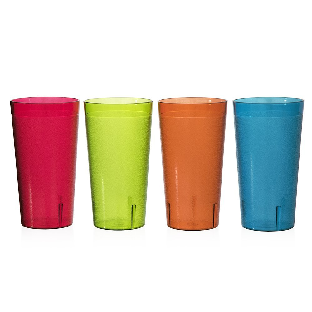 1bc9c0bee550 Get Quotations · Café 32-ounce Plastic Restaurant Style Tumblers | set of  12 in 4 Assorted Colors
