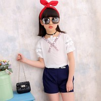 Hao Baby The New Girl 2019 Two-piece Ribbon Short Sleeve V-neck Lace Summer Two-piece Paragraph Children Clothes Girls