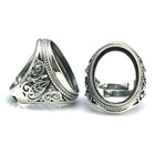 Beadsnice thailand sterling silver adjustable filigree blank for men jewelry finger ring findings ID 31762