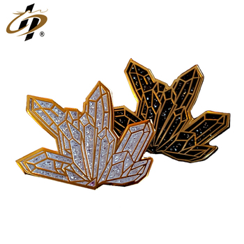 Promotional custom crystal cluster enamel metal lapel pins for wholesale