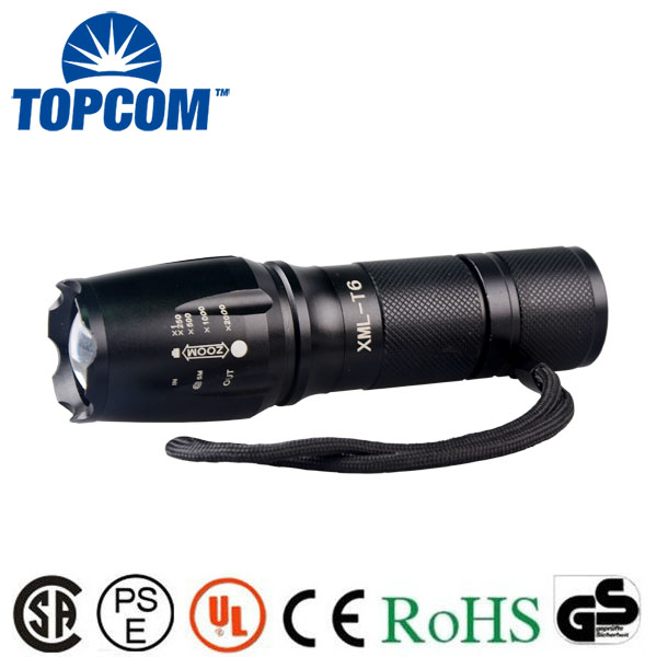 Zoomable G700 Police Tactical 18650/26650 High Power LED Torch Light for Self Defense